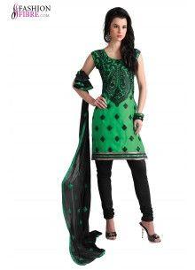 Green Color #Salwar #kameez With Embroidered Work