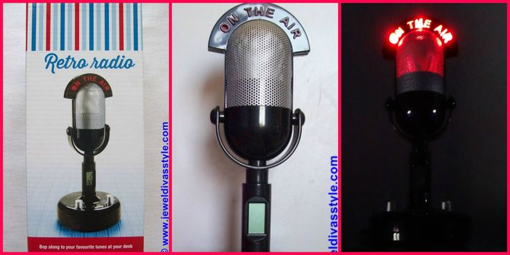 JDS - MICROPHONE RADIO CLOCK - http://jeweldivasstyle.com/home-decor-style-retro-radio-microphone-clock/