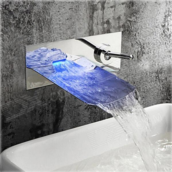 Stijlvolle chromen afwerking kleur veranderende led waterval Wall Mount badkamer wastafel kraan