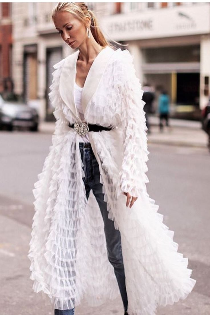 Love this sheer vintage looking ruffled robe as street wear with jeans.