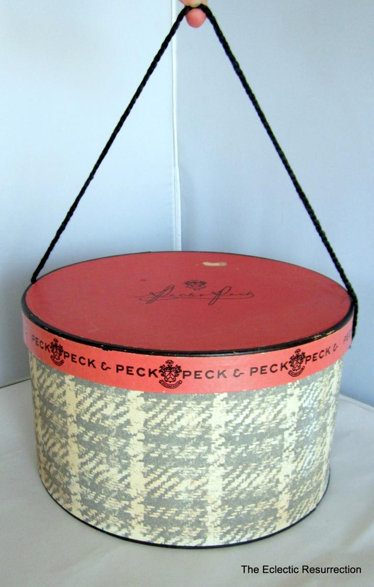 1950s Vintage Hat Box-Peck & Peck - Fifth Ave, NY-Round Hat Box. $20.00, via Etsy.
