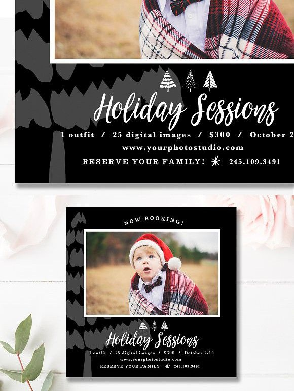 5x5 Christmas Mini Session Template Flyer Templates Pinterest