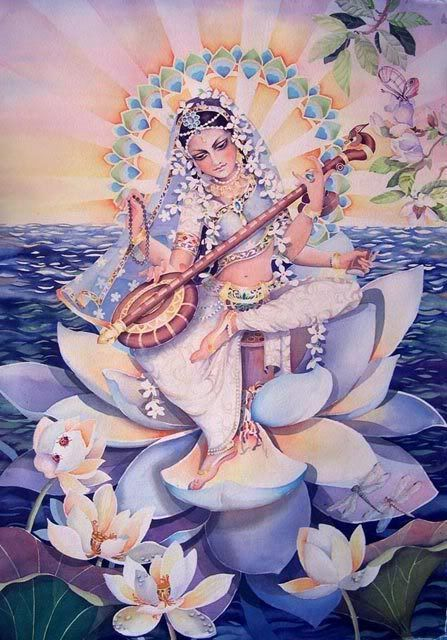 Sarasvati- Goddess of Auspicious Creation.    Sarasvati Vandana: May Goddess Saraswati, Who is bedecked with white kunda flowers, Who has worn pure white clothes resembling snow and moon, Who is holding a veena as her danda or instrument to draw the attention of her devotees/students, Who is sitting on a white lotus And one who is worshipped at all times by Brahma, Vishnu and Shiva. May she remove my laziness and ignorance. My salutations to such a Goddess of knowledge.