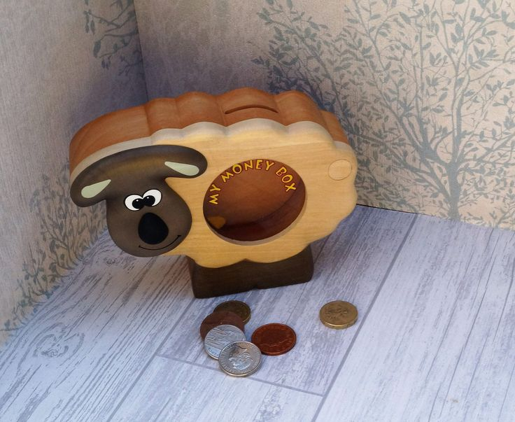 Childrens wooden money box, personalised money box, animal money box, christening gift, childs birthday gift, money box, childs gift by celebrateyourway on Etsy