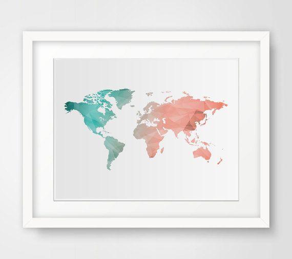 World Map Wall Art Mint Coral Wall Art Print World Map