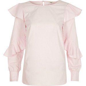 Pink frill sleeve loose shirt - River Islnd