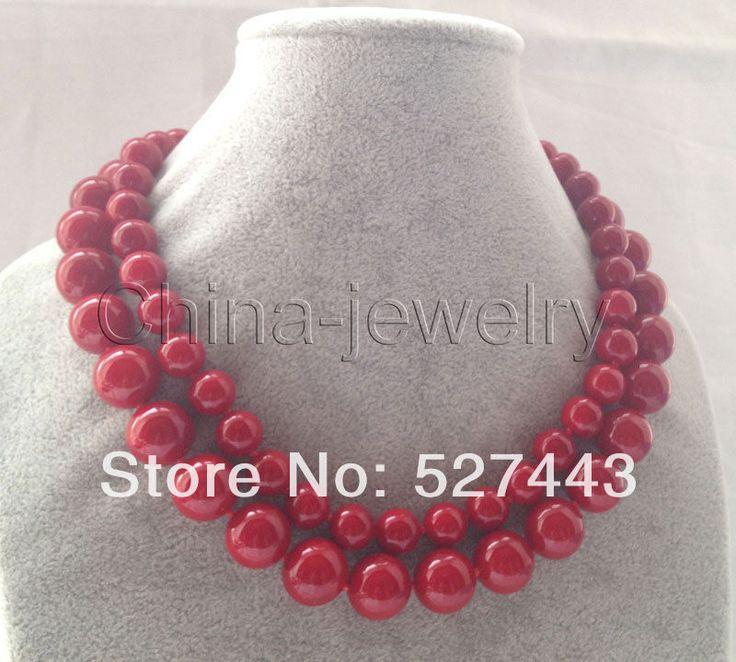 Оптовая продажа бесплатная доставка > красивая 17 - 18  2row 10 - 12 мм красный коралл цвет юг морская раковина жемчужное ожерелье