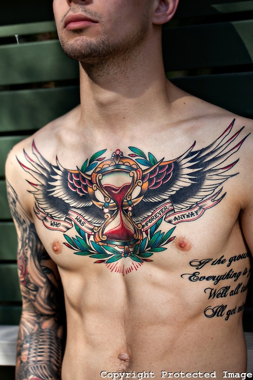 old school style tattoo...love love love...the tattoo and the stud lol