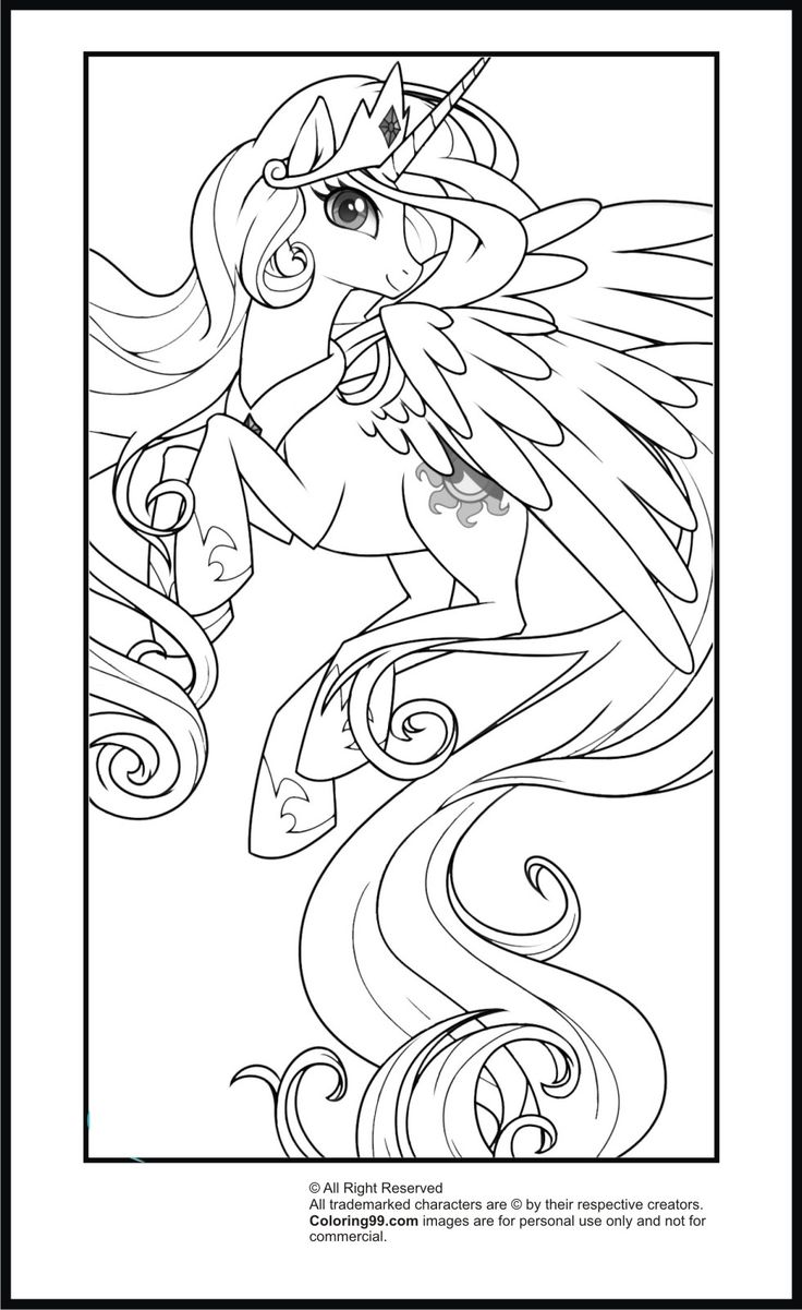 Disney princess coloring vanity case - My Little Pony Princess Celestia Coloring Pages Team Colors