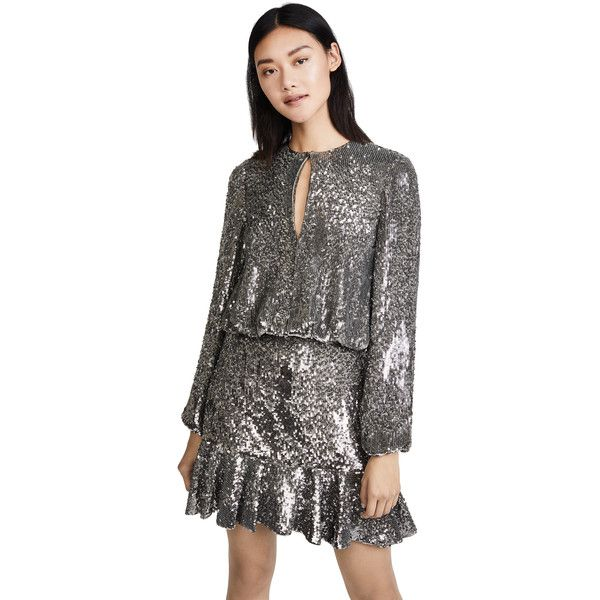 Alexis Tamera Dress (3.975 BRL) ❤ liked on Polyvore featuring dresses, silver, sparkly dresses, long sleeve dress, sequin embellished dress, mesh dress and long sleeve sparkly dress