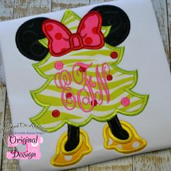 Miss Mouse Christmas Tree Applique