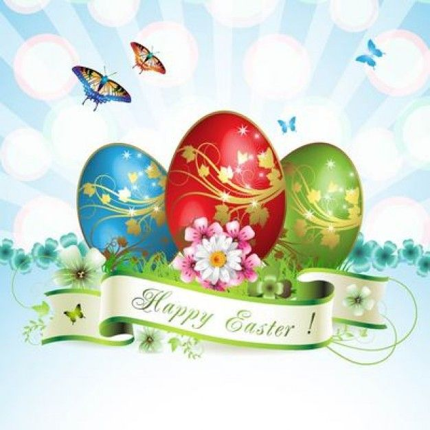 Colorful easter card with eggs and butterflies Free Vector