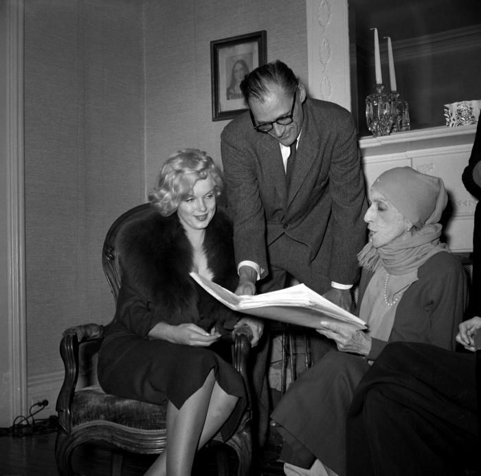 Marilyn and Arthur Miller with Karen Blixen at the home of Carson McCullers in Nyack, New York, February 5, 1959.