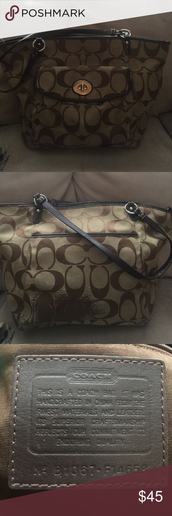 Coach tote bag Large Coach tote bag. This bag was welled loved and is worn in several places. Still has lots of life! Coach Bags Totes