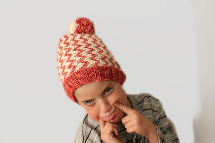 The ZigZag hat is a perfect pattern for those who has just started out on stranded work. Its a very easy stranded pattern repeat, perfect for an advanced beginner.The yardage is without a pompom, but its the kind of hat that looks really good if you make one. If not, the Crown shaping makes an interesting pattern that looks good without the pompom too.Make one for the whole family and you are all sure to be noticed.Happy knitting
