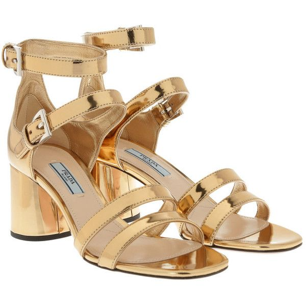 Prada Sandals - Strapped Patent Leather Sandals Platino Oro - in gold... ($705) ❤ liked on Polyvore featuring shoes, sandals, gold, colorblock sandals, leather sole sandals, gold colored sandals, strappy sandals and patent leather sandals