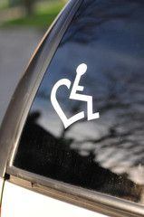 I like this decal with the heart/wheelchair!