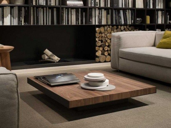 Low Square Solid Wood Coffee Table Deck By Lema Design Christophe Pillet Coffee Tables And