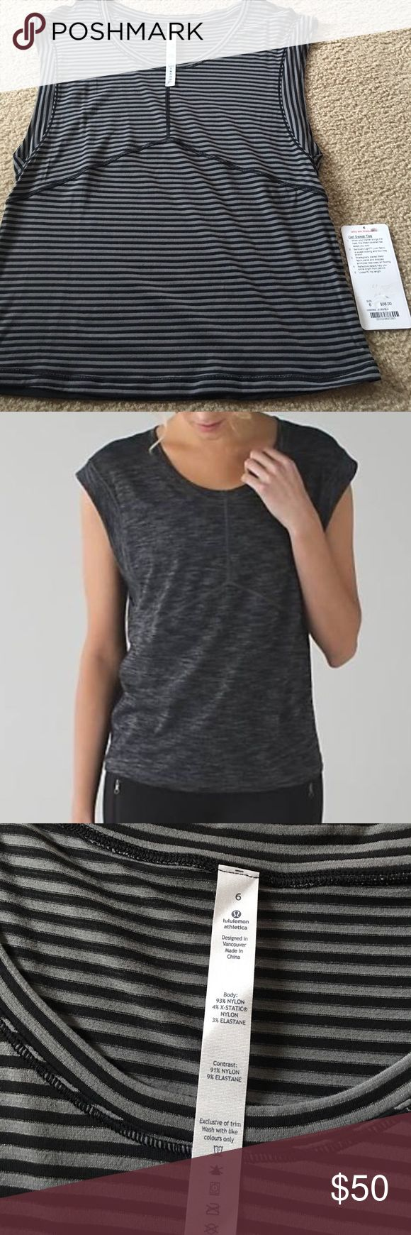 Lululemon Get Sweat Tee! New with tags! Lululemon Get Sweat Tee. Brand new with tags. Size 6. Originally bought for 58, selling for clearance price I paid 50. Perfect for those sweaty workouts! Offers welcome. lululemon athletica Tops Tees - Short Sleeve
