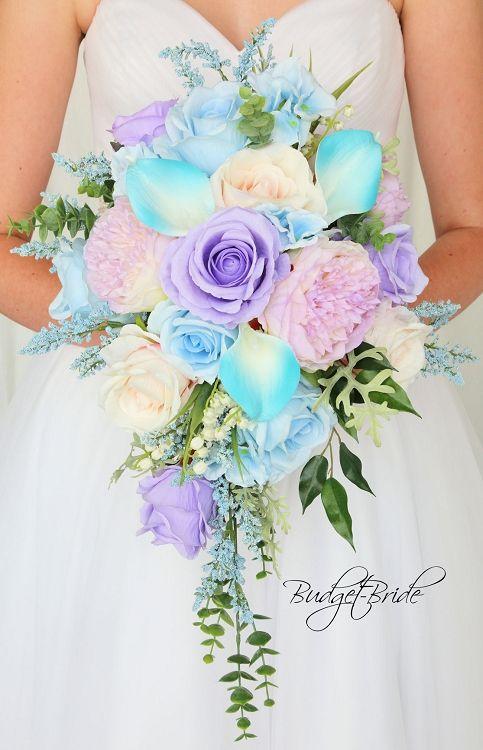 Malibu Davids Bridal Wedding Flowers in cascading teardrop bouquet ...