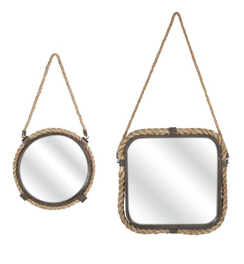 Truly charming  set of nautical statement mirrors, accented with rope and wrought iron details, make them perfect for a casual coastal setting.