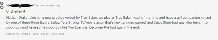 found this comment in a thread joking about a video game involving both Troy Baker & Nolan North