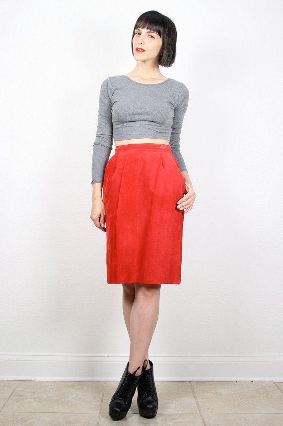 Vintage Red Skirt Mini Skirt Leather Skirt by ShopTwitchVintage