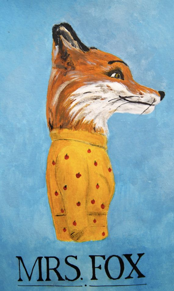 This item is a print of an original acrylic painting (by me!) of Mrs. Fox from the Wes Anderson film Fantastic Mr.Fox based on the Roald Dahl novel. The print is available in 12 x 18 cm, or 17 x 25 cm, printed on good quality A4 paper. Please contact me if you have any questions