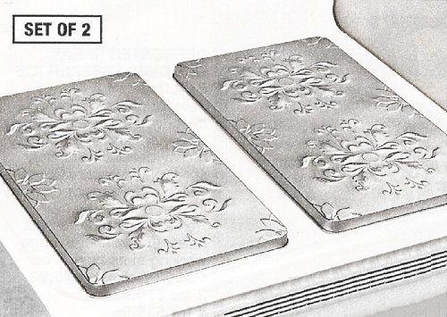 Vintage Embossed Metal Burner Covers Silver Set Of 2