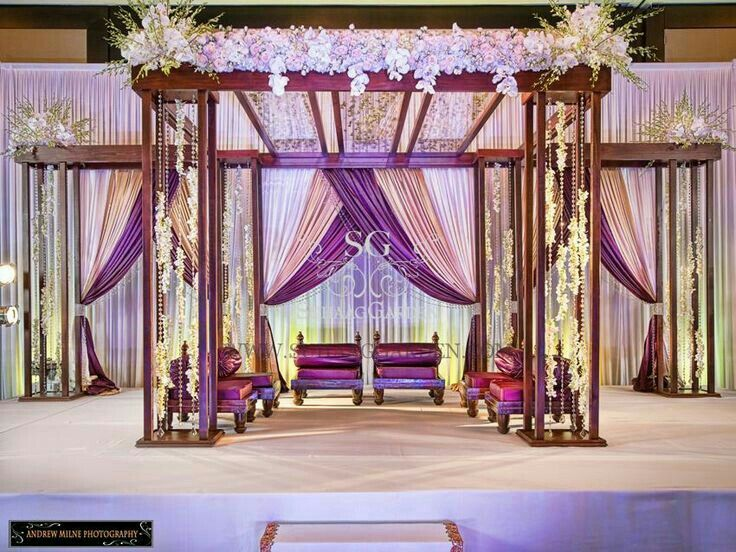 9 best palazzo mandap images on pinterest indian bridal indian garden theme wedding mandap purple drapery for indian wedding junglespirit Image collections