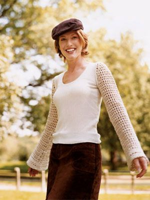 Simply Sleeves - neat idea! Add crocheted sleeves to a sleeveless top or even a t-shirt.....