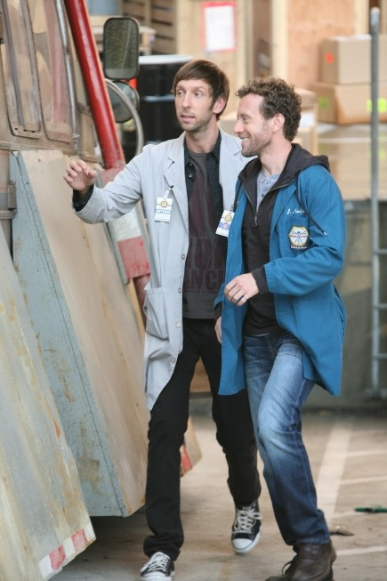 "Hodgins (TJ Thyne) and Colin Fisher (Joel David Moore) ""The Twist in the Twister"" episode of BONES on FOX."