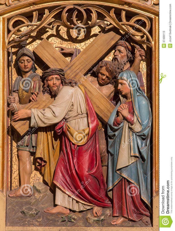 Bratislava - Jesus Under Cross Meets His Mother. Carved Relief ...