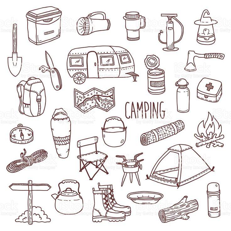 Camping vector hand drawn contour icon set royalty-free stock vector art