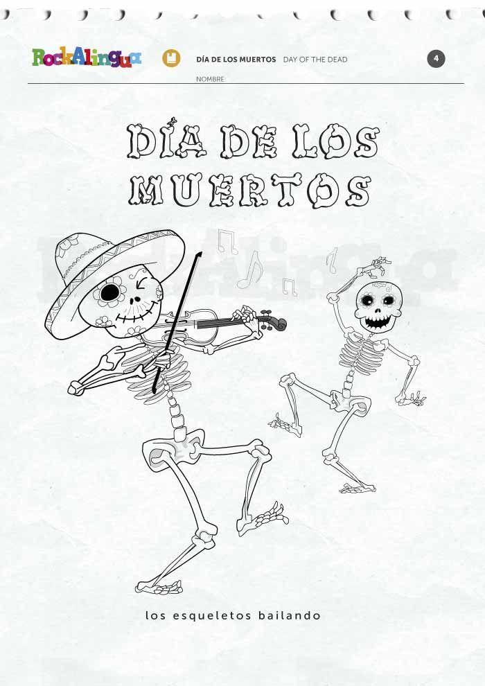 Día de los Muertos coloring pages and picture dictionary