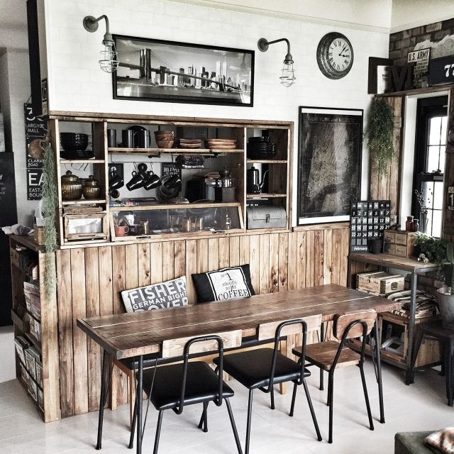 Black and white industrial kitchen and dinning room.