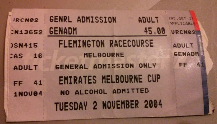 Melbourne Cup ticket 2004