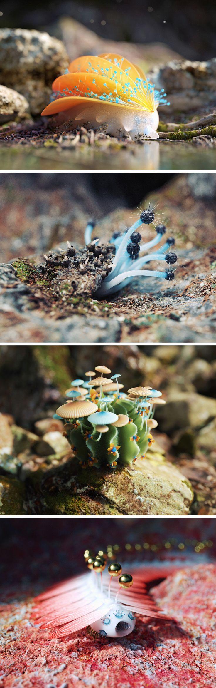 Digitally Rendered Alien Creatures by Zhang Chenxi