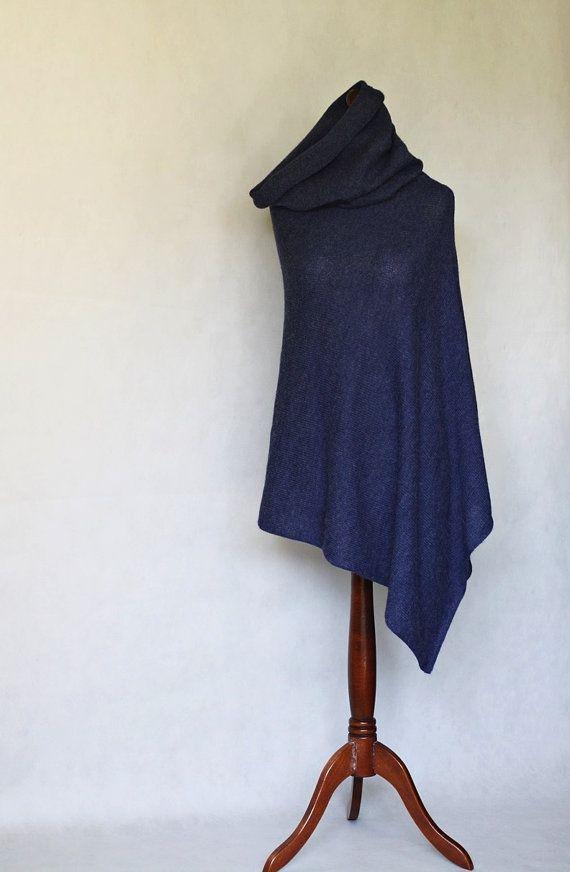 Alpaca poncho blue poncho blue scarf blue cape by KnitwearFactory