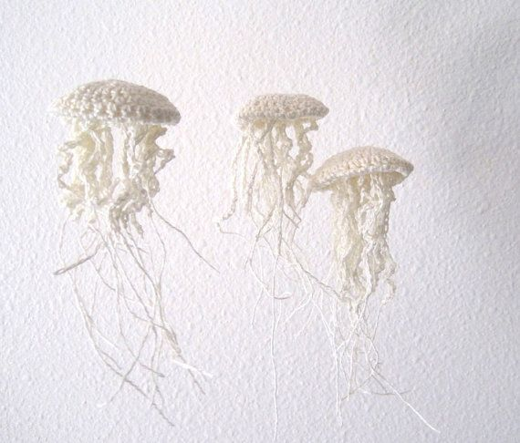 in love with these jellyfish you hang from your ceiling....Moon Jellyfish Amigurimi Ornaments in Linen - Set of Three
