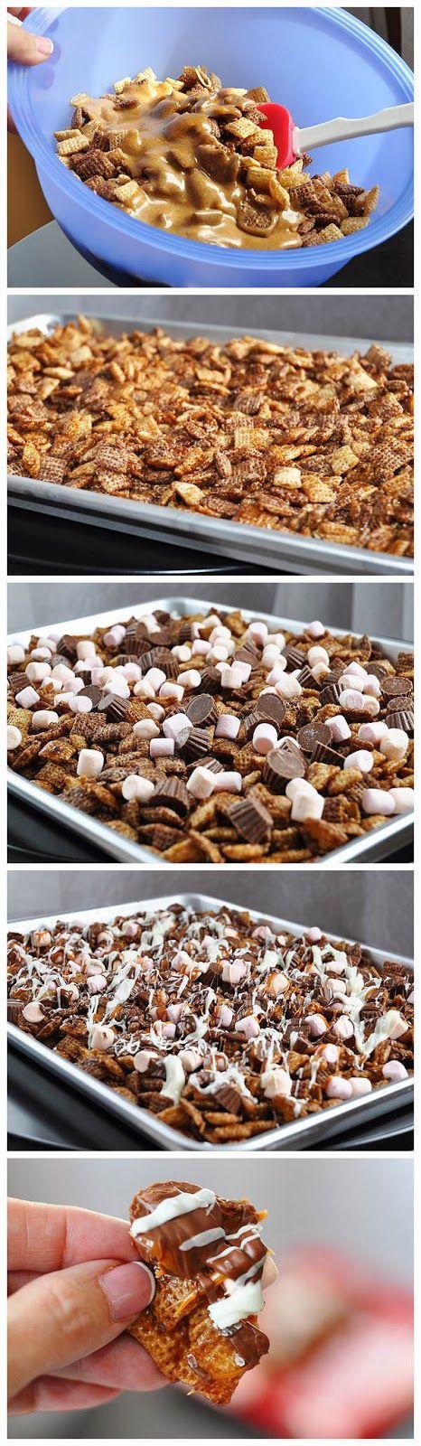 Chocolate, caramel, peanut butter, marshmallow, Chex, blammo