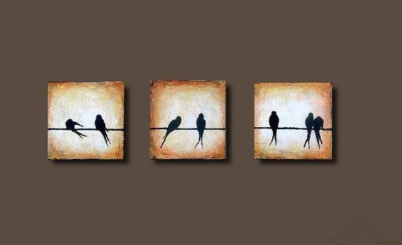 Little Bird Painting Birds on Wire Texture Original small Canvas triptych Set of 3