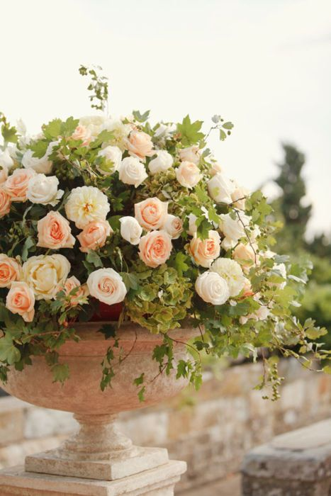 Peach and pink garden rose centerpiece: #flowers #pink: www.matchbookmag.com