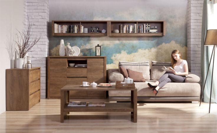 Pokój dzienny MONTI, dąb lefkas  Proste i funkcjonalne bryły kolekcji Monti doskonale komponują się w pomieszczeniach, takich jak: pokój dzienny, sypialnia czy gabinet. Szerokie boczne listwy dodają sztywności całej konstrukcji i świadczą o solidności mebla.