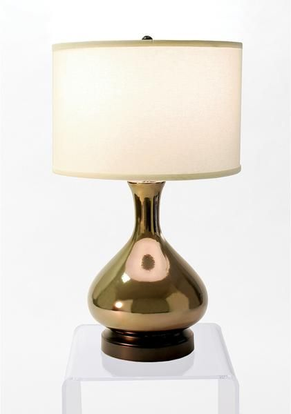 INDOOR CORDLESS LAMP - MADE IN THE USA This U.S. artisan made stoneware is done in a metallic bronze glaze that really makes this lamp physically comes alive. Every piece in this hand made, limited ru