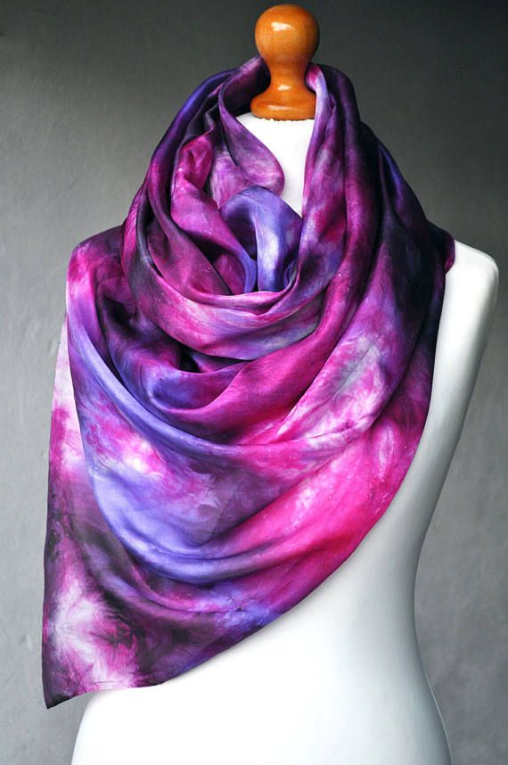 FREE SHIPPING  Pure Silk Scarf Handmade  Hand Painted by ShellenD