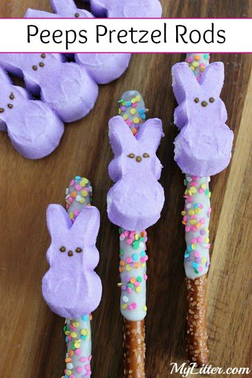 Here is a fun little Easter snack you can make with your kids or surprise them with an extra cute treat in their Easter baskets! These Peeps Pretzel Rods are really so easy to make and were a huge hit in our house!