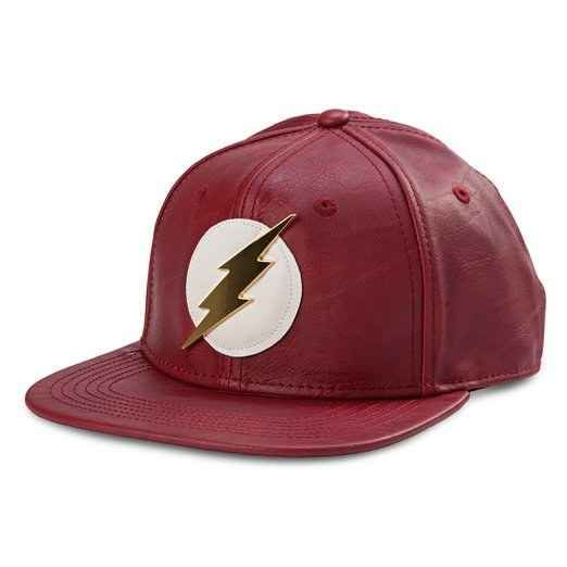 This faux-leather snapback that looks like it's literally cut from the same cloth as the Flash suit Cisco made.