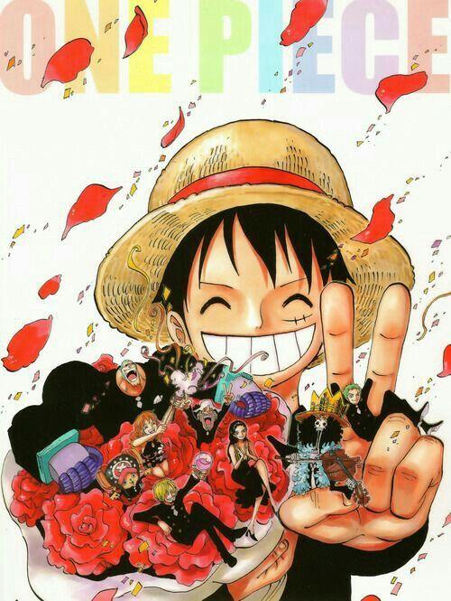 Straw Hat Crew, Mugiwara, Luffy, Sanji, Zoro, Chopper, Usopp, Brook, Franky, Nami, Robin, peace sign, text, flowers, smiling, confetti; One Piece