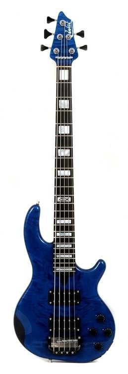 WAL 5 string Mk 3 with Sycamore facings, finished in Translucent Blue Gloss with custom fingerboard inlays
